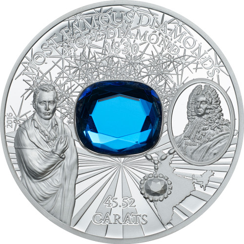 The Hope Diamond - 2 oz Silver Proof Coin - $10 2016 Cook Islands