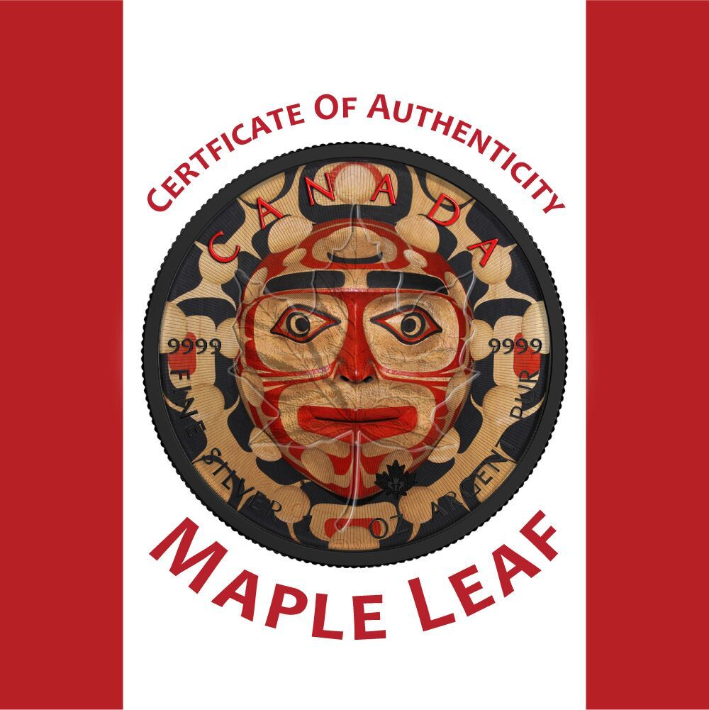 Maple Leaf Moon Mask 1 Oz Pure Silver Coin Black