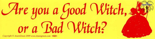 Are you a Good Witch, or a Bad Witch? bumper sticker 29cm x 7.5cm