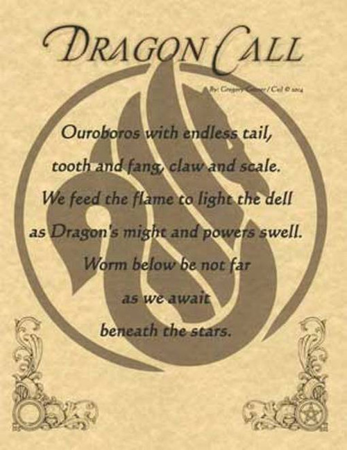 Dragon Call Poster on Parchment A4
