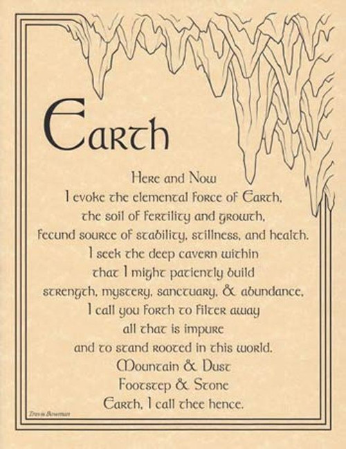 Earth Evocation Poster on Parchment A4