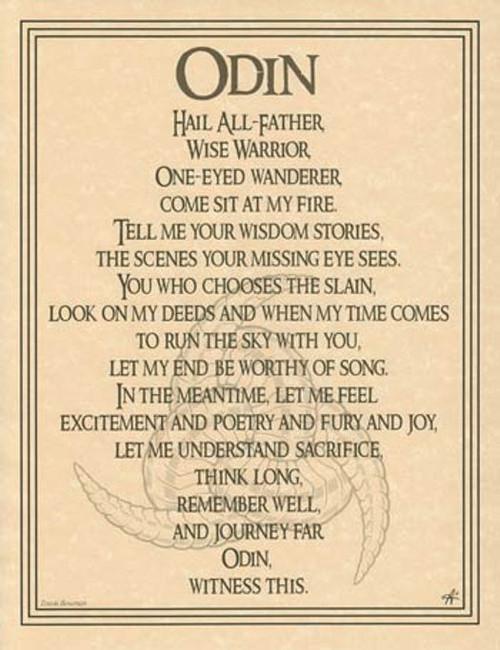 Odin God Poster on Parchment A4