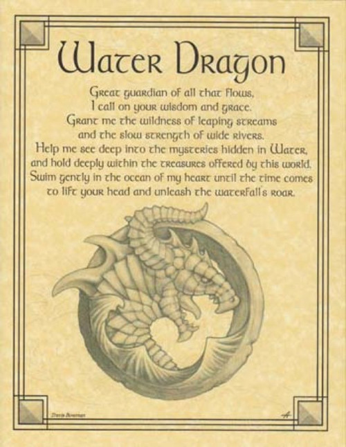 Water Dragon Poster on Parchment A4