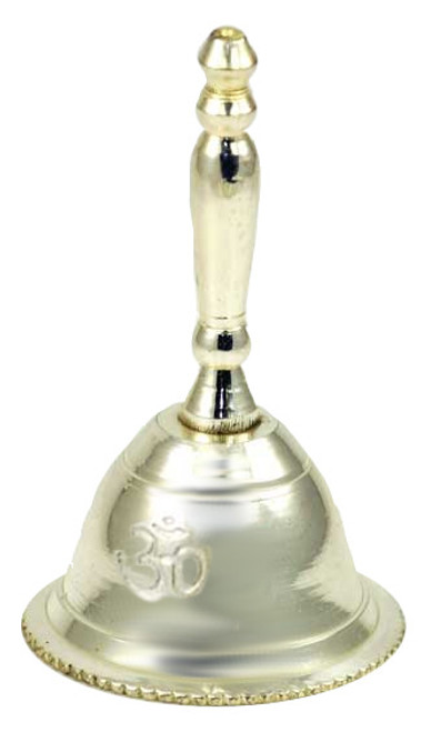 Silver Plated Om Altar Bell 6cm