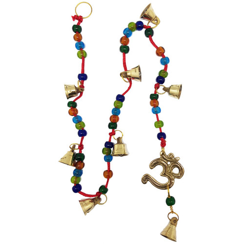 Om Brass on Beaded Cord Bell Wind Chime