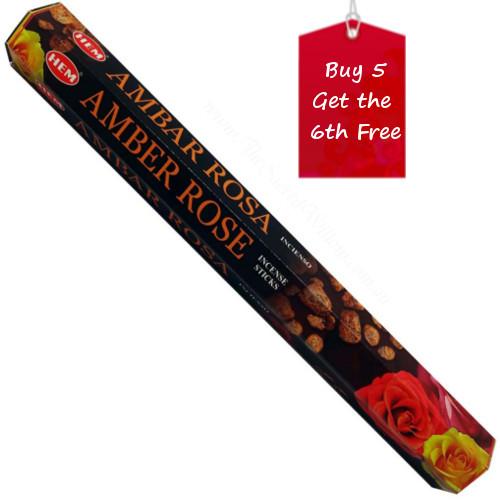 Amber Rose Hem Incense Sticks 20 gram Hexagonal