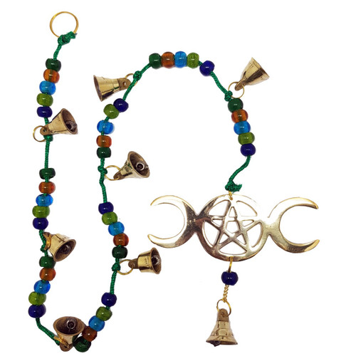 Yoga clothes for women this lovely brass wind chime features the triple moon and pentagram symbol and several bells which fandeluxe Images