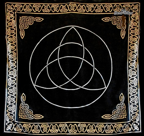 90cm Gold Bordered Triquetra Altar or Tarot Cloth