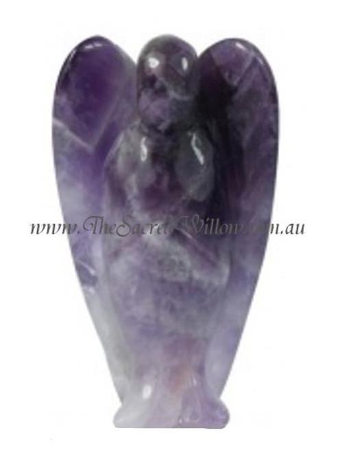 5cm Cheveron  Amethyst Carved Crystal Angel