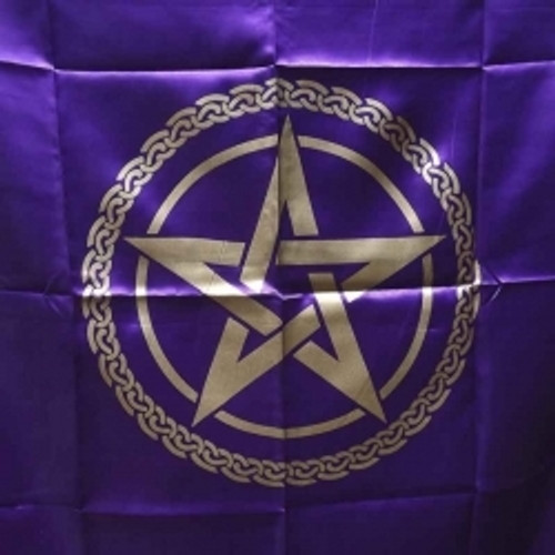 Purple & Gold  Pentagram Altar or Tarot Cloth