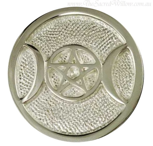 Silver Plated Triple Moon Altar Tile 7.5cm