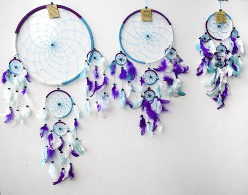 3 Tone Blue, White & Purple Dream Catcher Large