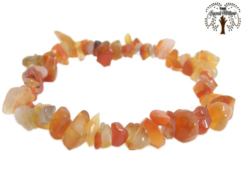 Carnelian Gemstone Chip Stretch Bracelet