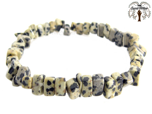 Dalmatian Jasper Gemstone Chip Stretch Bracelet