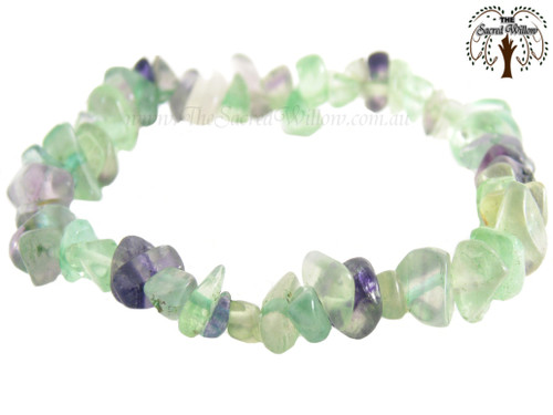 Fluorite Gemstone Chip Stretch Bracelet