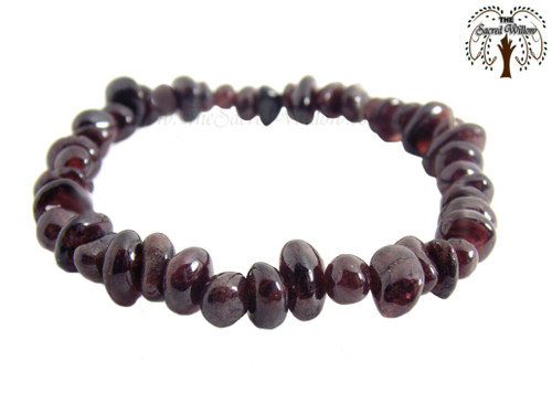 Garnet Gemstone Chip Stretch Bracelet