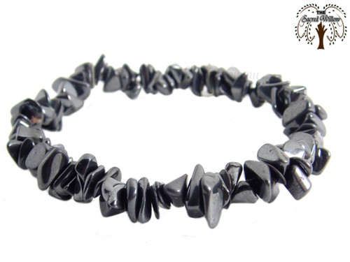 Hematite Gemstone Chip Stretch Bracelet