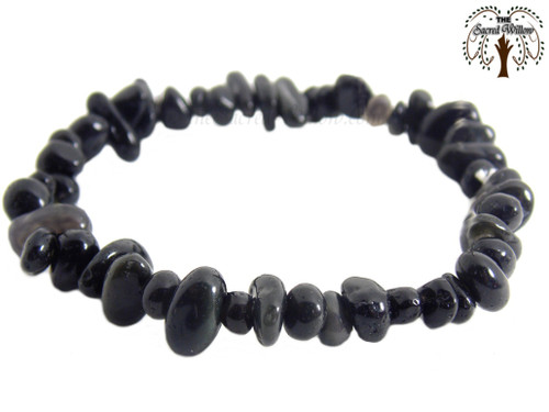 Black Obsidian Gemstone Chip Stretch Bracelet