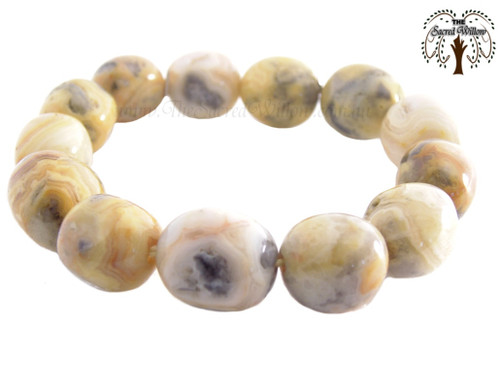 Crazy Lace Agate (Yellow) Nugget Stretch Bracelet Tumbled Stones