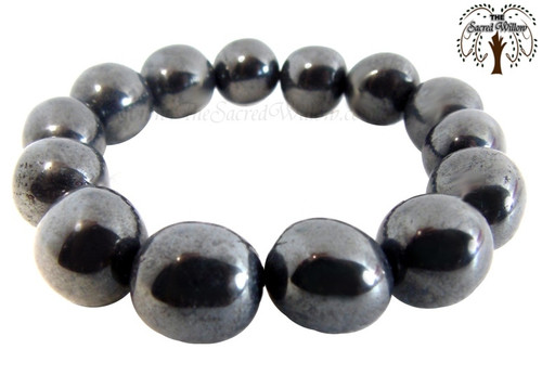 Hematite Nugget Stretch Bracelet Tumbled Stones