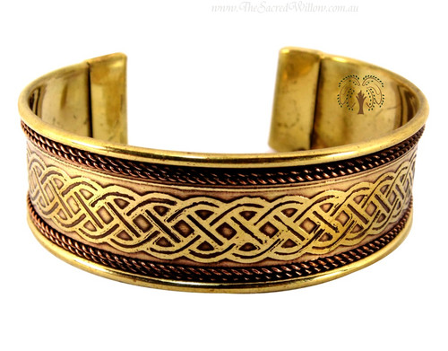 Celtic Knot Copper and Brass Cuff Bracelet