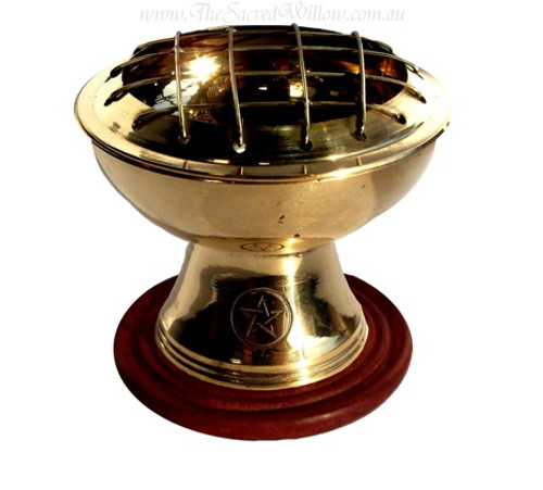 Brass Pentagram Screen Burner With Coaster