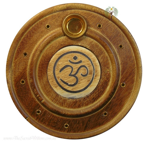 Om Flat Round Incense & Cone Holder