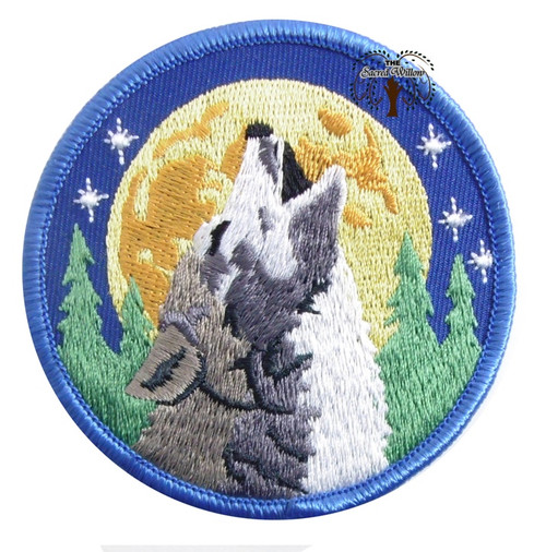 "Wolf Embroidered 3"" Iron On Patch"