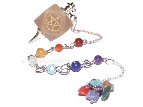 7 Chakra Moonstone Pentagram Pendulum