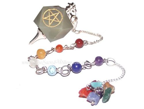 7 Chakra Green Adventurine Pentagram Pendulum