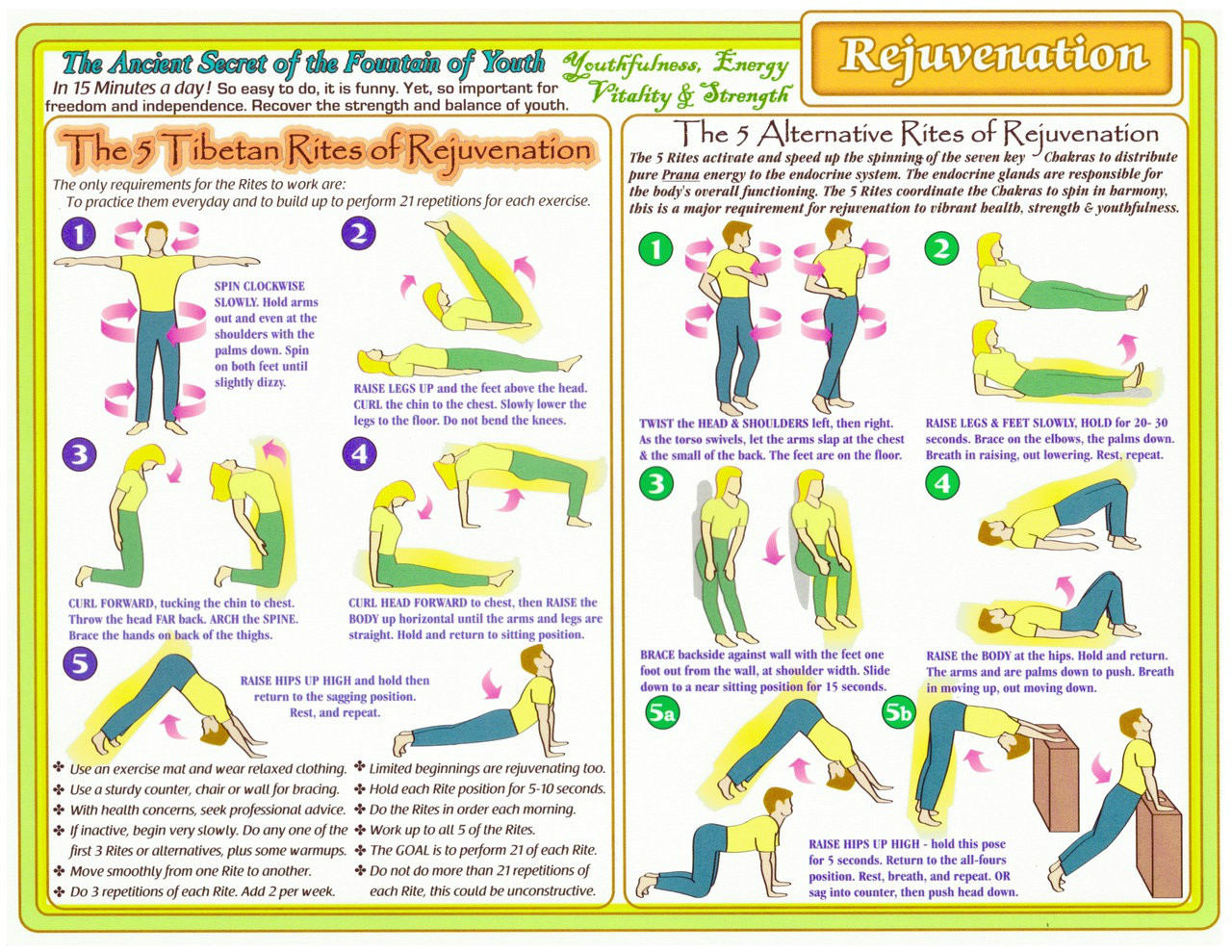 Rejuvenation 5 rites chart rainbow laminated 85 x11 bodytools it is a very good idea to do this practice build strength balance and nvjuhfo Choice Image