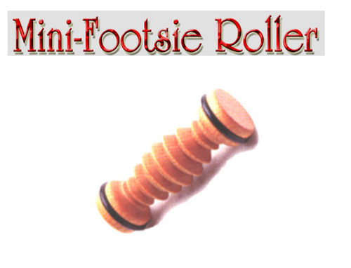 The mini footsie roller is wonderful to refresh your feet and feels really good.  Roll the sole of the foot on the mini footsie roller to increase circulation. Relieve tension. Relax foot muscles and revitalize the body.  The family of Bodytools Footsie Rollers are quality products made of  Kiln-dried Plantation Grown Mahogany Each piece is hand-dipped in pure oil & beeswax. Comes bagged with new 4 color header cards.