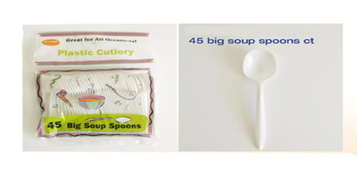 AXBSS48 -  PLASTIC  45 PIECES BIG SOUP SPOONS