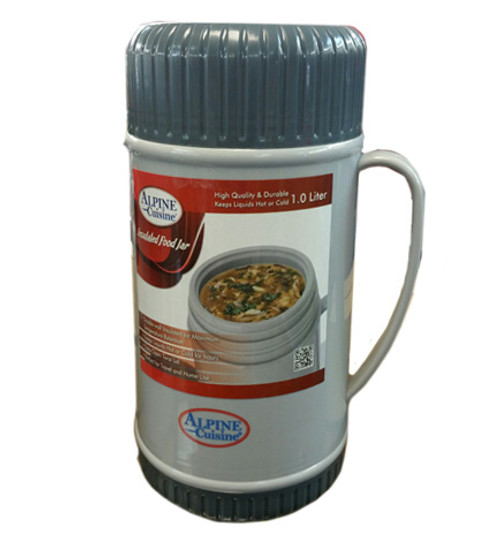 10413 - 1.0 Liter Glass Vacuum Food Thermo; Gray 2-Tone Color