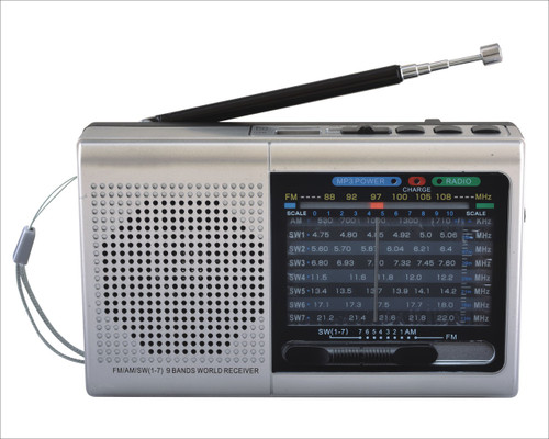 SUPERSONIC Portable 9 Band Bluetooth Radio SILVER