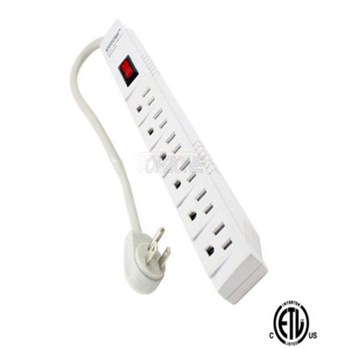 1.5 feet 6 Outlet Power Strip T-Type Style,with Angle Plug.