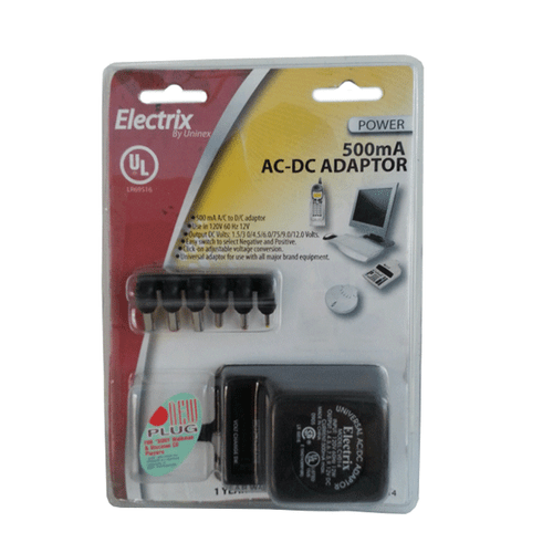 AC/DC ADAPTER BATTERY ELIMINATOR INPUT: 110-120 OUTPUT: 500MA
