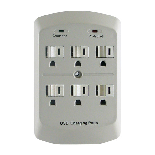 PAG601AU-6 Outlet Wall Tap with 2 USB Ports