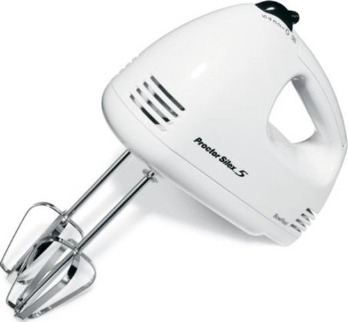 Proctor Silex 5-speed Hand Mixer in White 62509RY with Jenn-Air Adjustable
