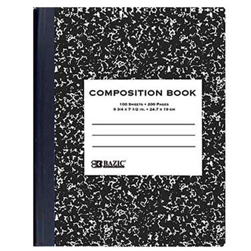W/R 100 ct. Black Marble Composition Book