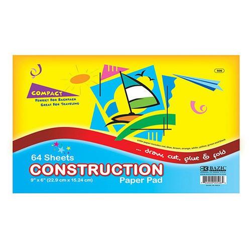 "BAZIC 64 Ct. 6"" X 9"" Mini Construction Paper Pad"