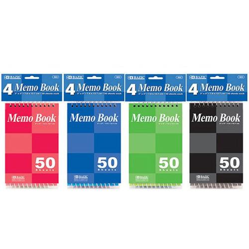 "Bazic 50 Ct. 3"" X 5"" Top Bound Spiral Memo Books (4/Pack)"