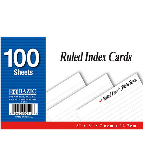 "BAZIC 100 Ct. 3"" X 5"" Ruled White Index Card"