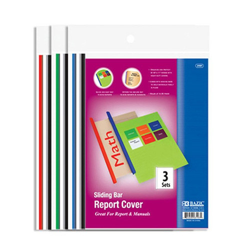 BAZIC Clear Front Report Covers W/ Sliding Bar (3/Pack)