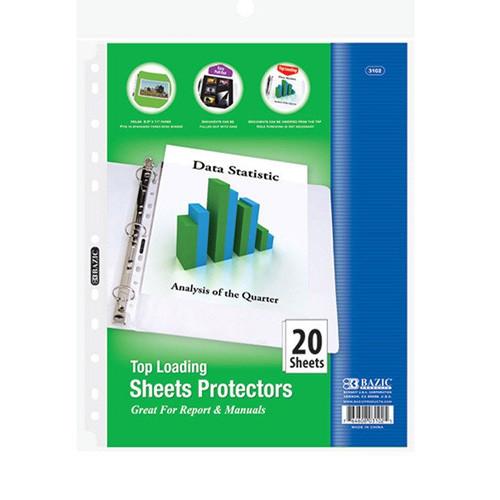 BAZIC Top Loading Sheet Protectors (20/Pack)