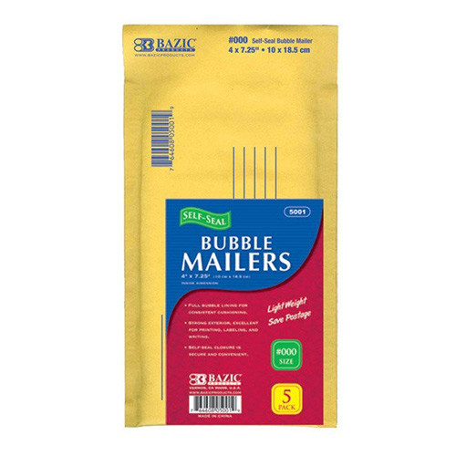 """BAZIC 4"""" X 7.25"""" (#000) Self-Seal Bubble Mailers (5/Pack)"""