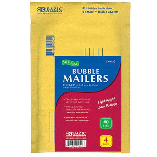 """BAZIC 6"""" X 9.25"""" (#0) Self-Seal Bubble Mailers (4/Pack)"""