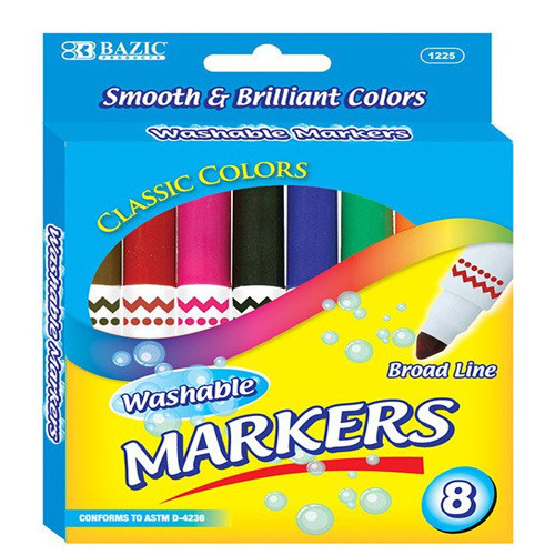 BAZIC 8 Color Broad Line Jumbo Washable Markers
