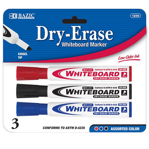 BAZIC Assorted Color Chisel Tip Dry-Erase Markers (3/Pack)