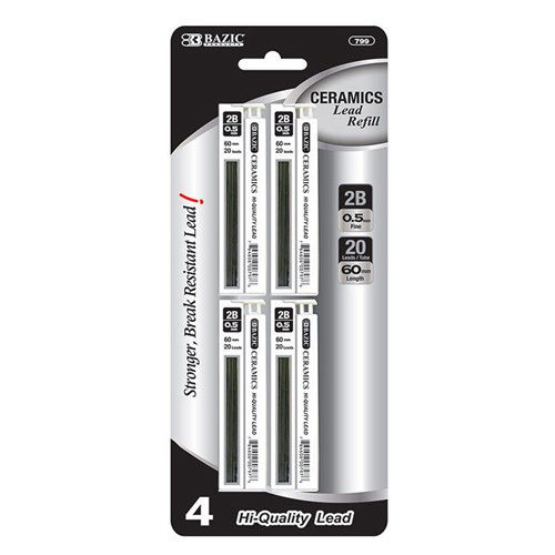 BAZIC 20 Ct. 0.5mm Ceramics Hi-Quality Mechanical Pencil Lead (4/Pack)